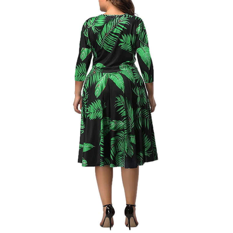 Plus Size Dress For Women Summer Casual Three Quarter Sleeve Deep V Neck Tropical Plant Print Bandage Lace Up Woman Maxi Dresses