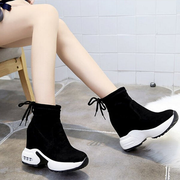Women's Short Boots Winter Snow Boot Muffin Platform Outdoor Sport High Heel Height Increasing Ankle Shoes Warm Fur Sneakers