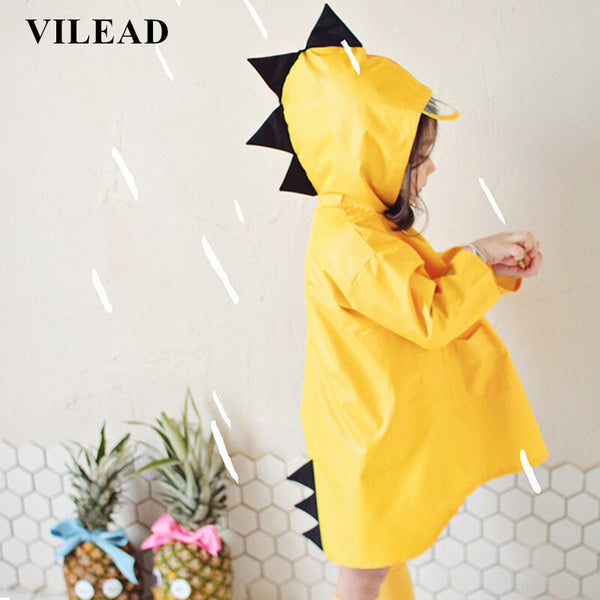 VILEAD Cute Dinosaur Polyester Baby Raincoat Outdoor Waterproof Rain Coat Children Impermeable Poncho Boy Girl Rain Jacket Gift