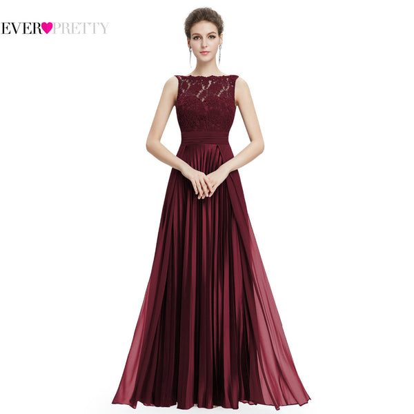 Ever Pretty Evening Dresses Gorgeous Formal Round Neck Lace Long Sexy Red Women Party 2019 EP08352 Special Occasion Party Dress