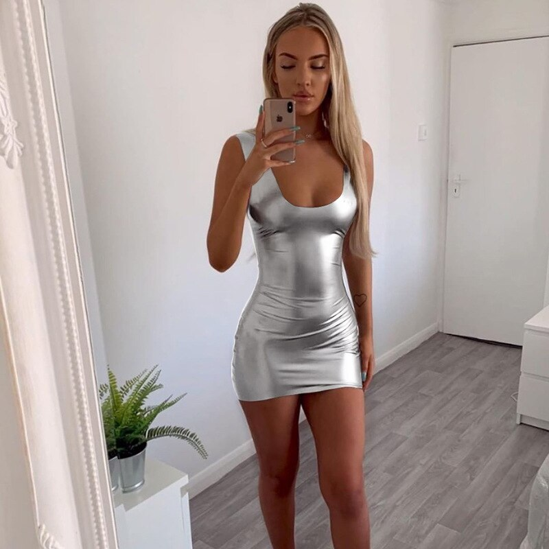 Fashion Tight Women Shinny Summer Dress Sexy Skinny Robe Femme Pack Hip Vestidos Backless Square Collar Women Streetwear Mini Dr