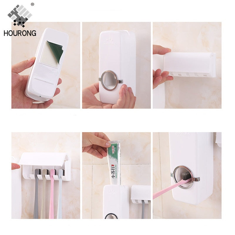 1set Automatic Toothpaste Dispenser Toothbrush Holder Wall Mount Tooth brush Storage Rack Organizer Bathroom Accessories Set