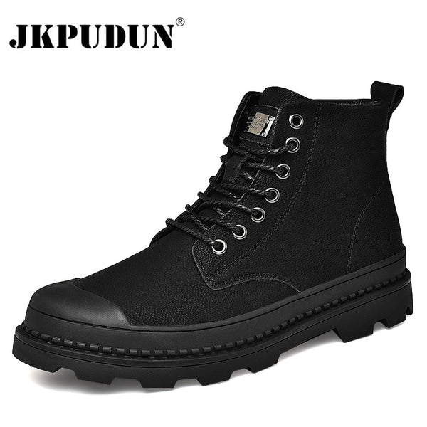 Black Warm Winter Men Boots Genuine Leather Ankle Boots Men Winter Work Shoes Men Military Fur Snow Boots for Men Botas JKPUDUN