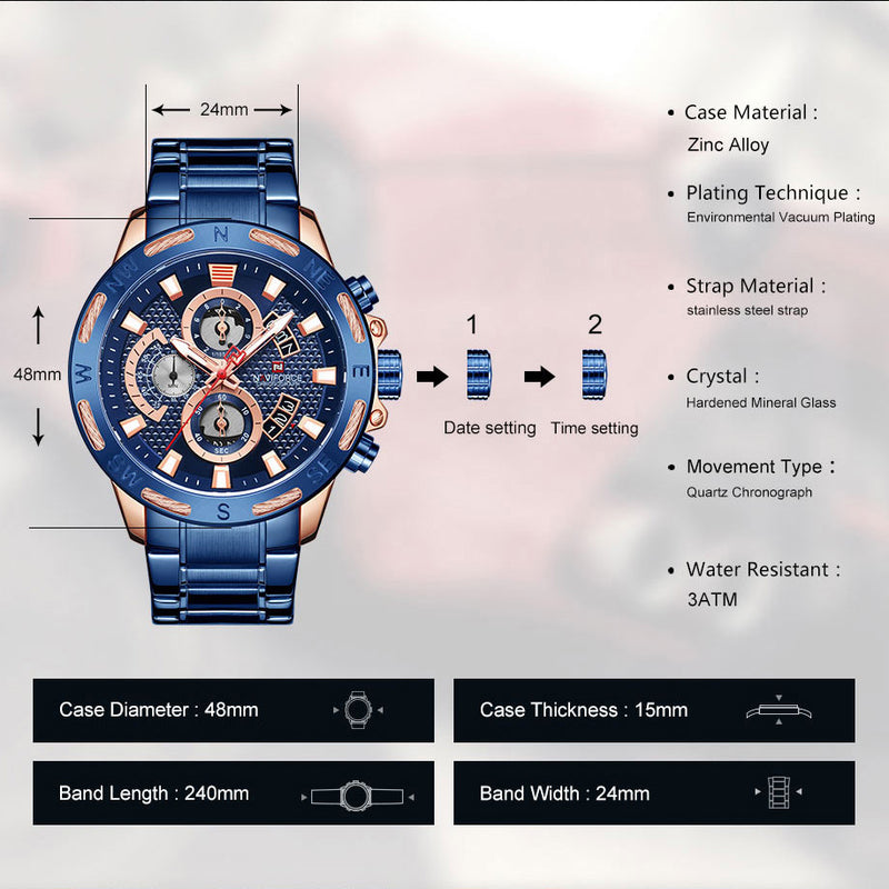 NAVIFORCE Men Watches Waterproof Stainless Steel Quartz Watch Male Chronograph Military Clock Wrist watch Relogio Masculino