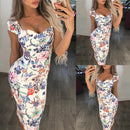 FREE OSTRICH Multicolor Pinting Womens Dress Fashion Sexy Evening Party Ladies Holiday Dress Summer Bandage Slim Fit Clothing