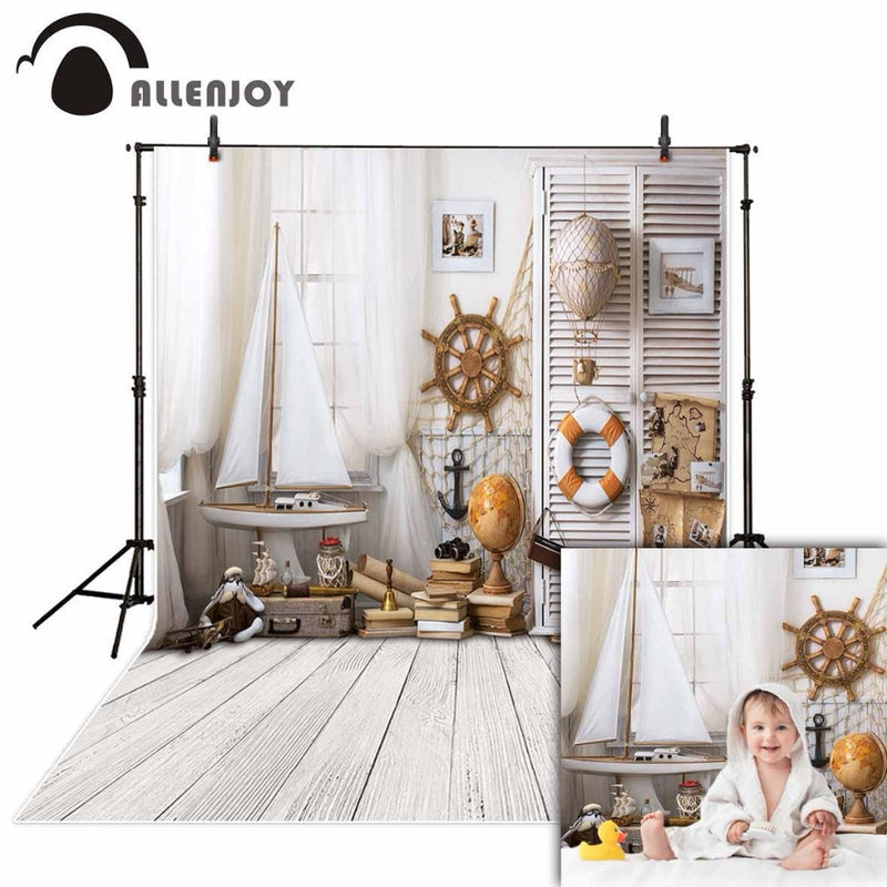 Allenjoy photography backdrops white indoor sailor wood board boat backgrounds summer christmas photo studio photocall vinyl