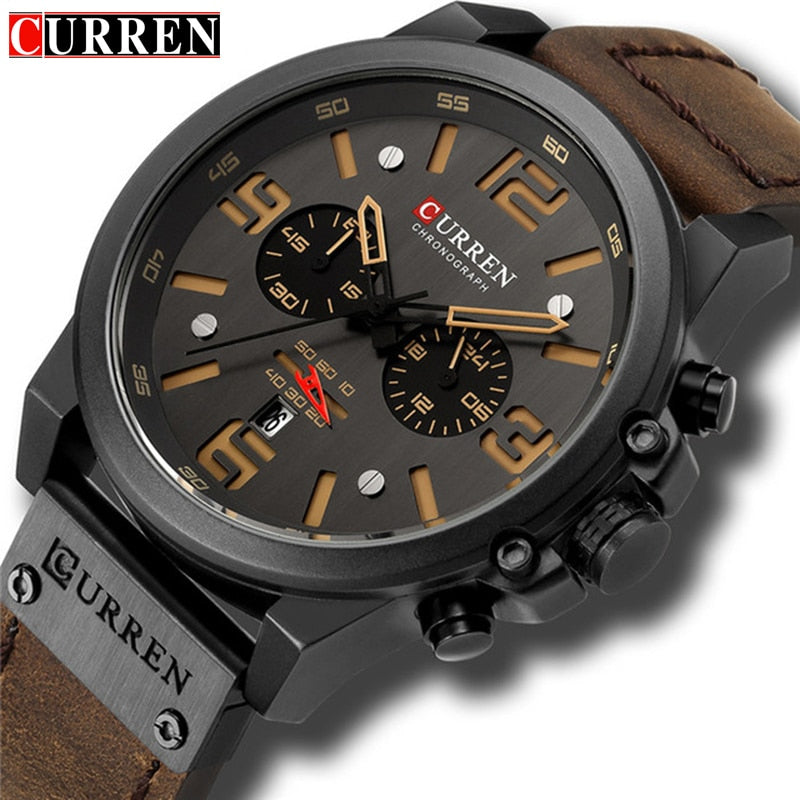 CURREN Top Luxury Brand Men's Military Waterproof Leather Sport Quartz Watches Chronograph Date Fashion Casual Men's Clock 8314