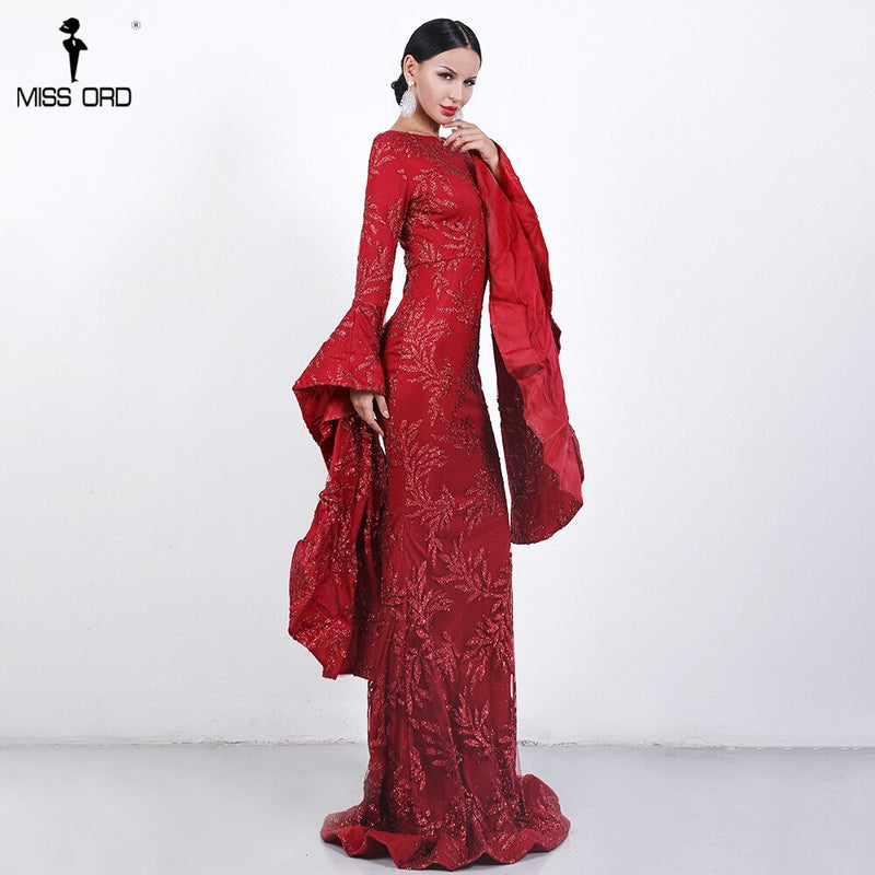 Missord 2019 Sexy Women Autumn O Neck Flare Sleeve Dress Solid out Glitter Elegant Dress FT18462