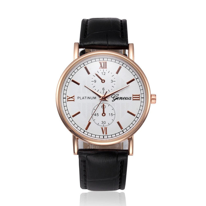 Geneva Luxury Brand Mens Watch Retro Design Leather Analog Quartz Ladies Dress Wrist Watch Clock Women Watches Wholesales