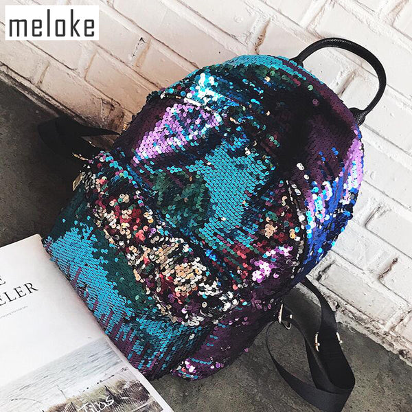 Meloke 2019 Sequins Women leather Backpacks  Bling large size Female Fashion Backpack Bag Girls School bags travel bags