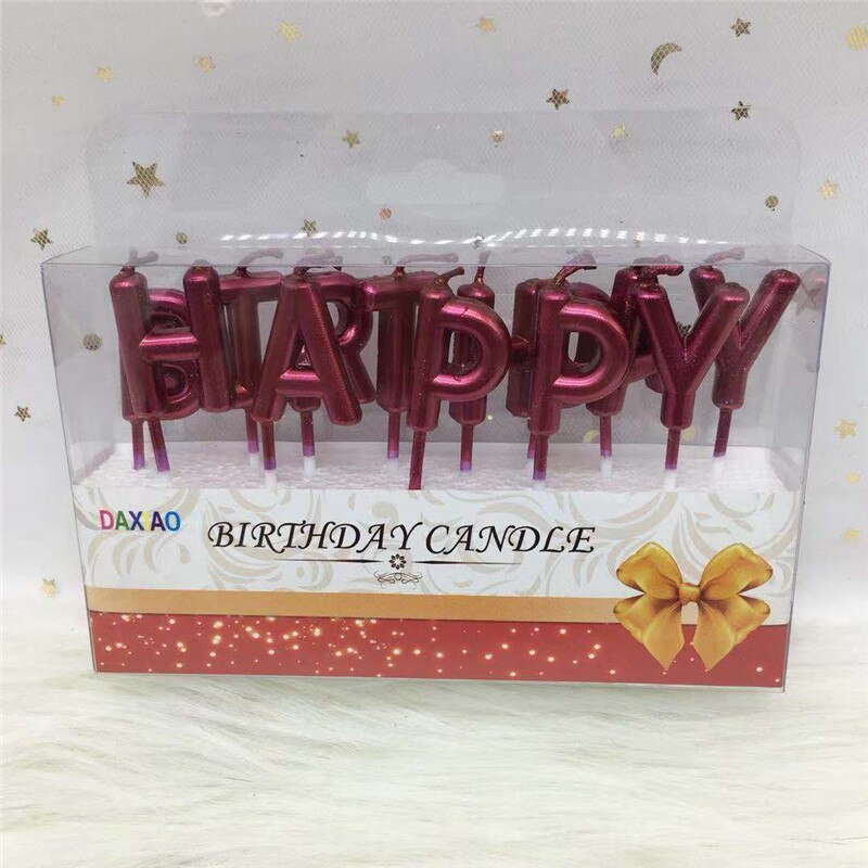 Rose Gold Sliver Red Happy Birthday Letter Cake Birthday Party Festival Supplies Lovely Birthday Candles for Kitchen Baking Gift