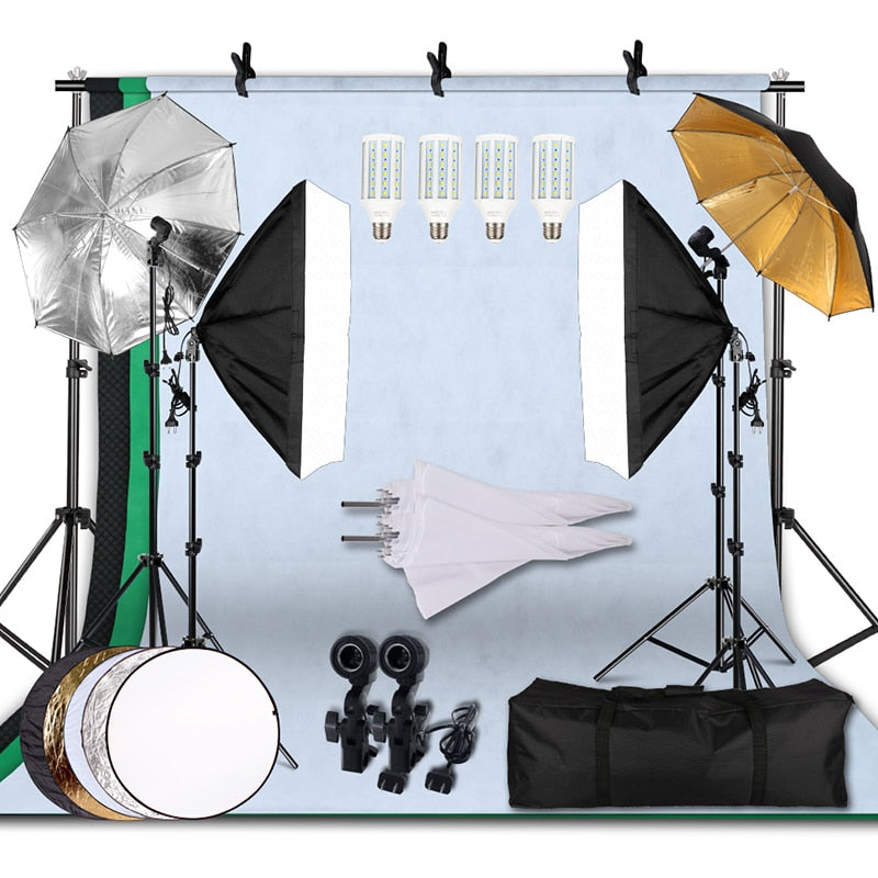 20W 5500K Umbrellas Softbox Continuous Lighting Kit with Backdrop Support System for Photo Studio Product Shoot Photography