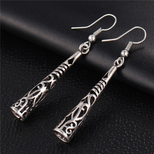 IF ME New Vintage Antique Silver Color Long Drop Earrings for Women Fashion Hollow Out Retro Carved Party Gift Drop Shipping (EJDY054)