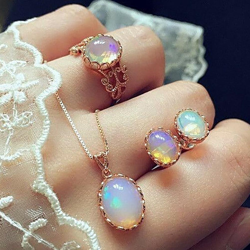 DreamBell 3 Pcs/set Women Jewelry Set Female Gold Color Luxury Opal Ring Stud Earrings Pendant Necklace Wedding Jewelry Set (Gold)