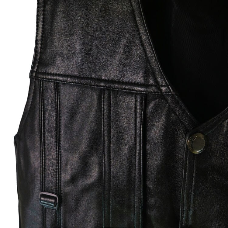 Men Sheepskin Genuine Leather Vest Spring Summer Fur Vests Male 5 Pockets Genuine Leather Jacket Waistcoats Plus Size 5XL 6XL
