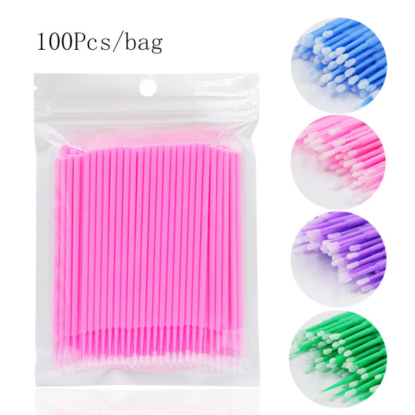 100pcs/Bag Disposable Makeup Eyelashes Brushes Micro Mascara Brush Eyelash Extension Individual Lash Removing Tools
