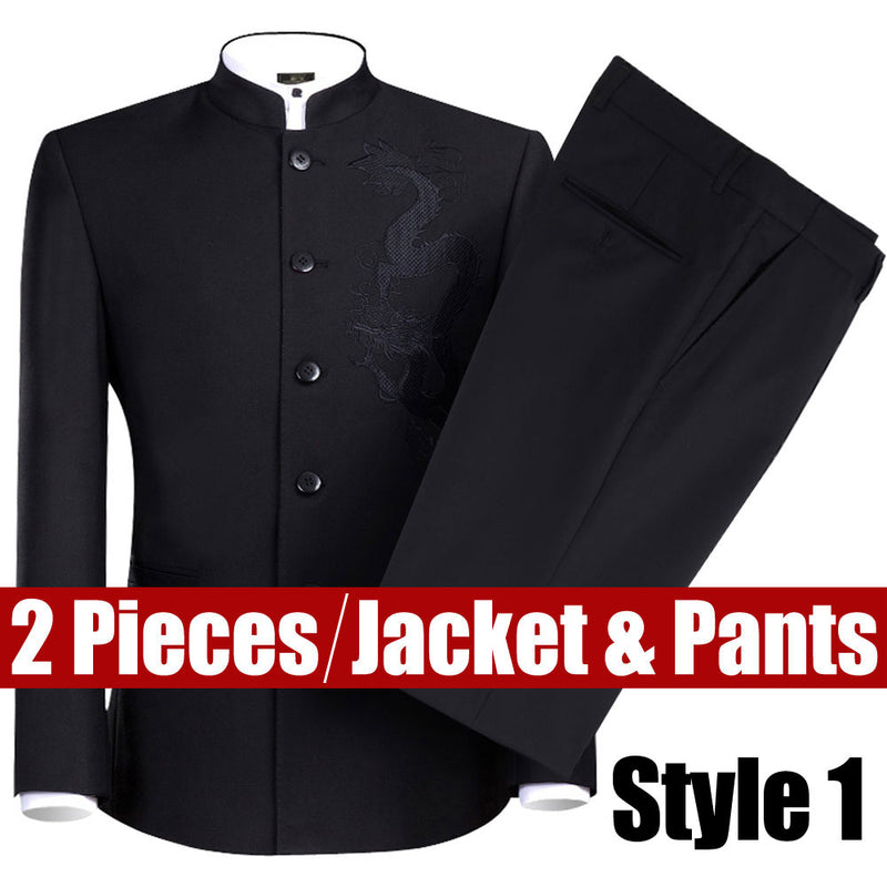 New 2019 Black Chinese Tunic Suit Men's Traditional Stand Collar Suits Apec Leader Costume Male Embroidery Dragon Totem Suits