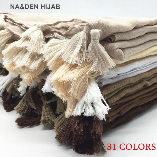 women tassel hijab shawl Plain maxi scarf fashion pendant shawls lady muslim hijabs scarfs soft foulard wrap 1pc 31colors