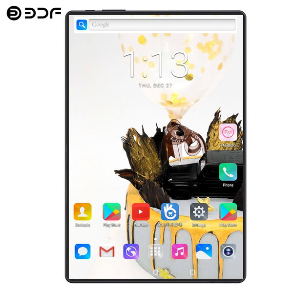 BDF 10 Inch Android 9.0 Tablet Pc 10/Ten Core 1920*1200 IPS 8GB/128GB Tab 4G LTE Dual SIM Card 8.0MP Dual Camera Pc Tablets 10.1