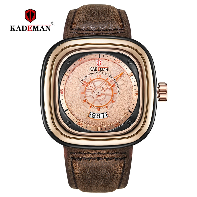 2019 Luxury Men Watches New Fashion Square Quartz Watch TOP Brand KADEMAN Casual Leather Wristwatches Business Relogio Masculino