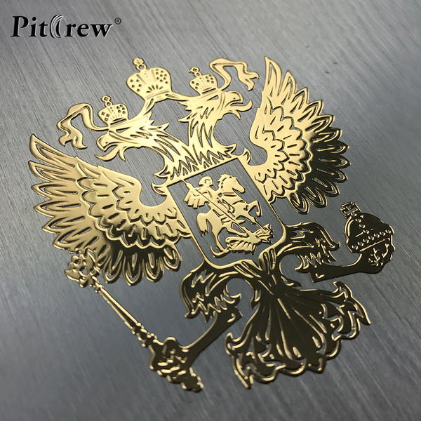 PITREW Coat of Arms of Russia Nickel Metal Car Stickers Decals Russian Federation Eagle Emblem for Car Styling Laptop Sticker