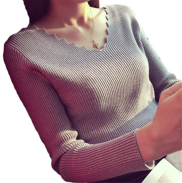 Fashion Autumn Women V-neck Long-sleeve Knitted Sweater Female Jumper Pullover Solid Basic Elasticity Women Clothing Pull Femme