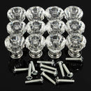 12pcs Acrylic Knobs Crystal Glass Door Knobs Drawer Cabinet Furniture Kitchen Handle
