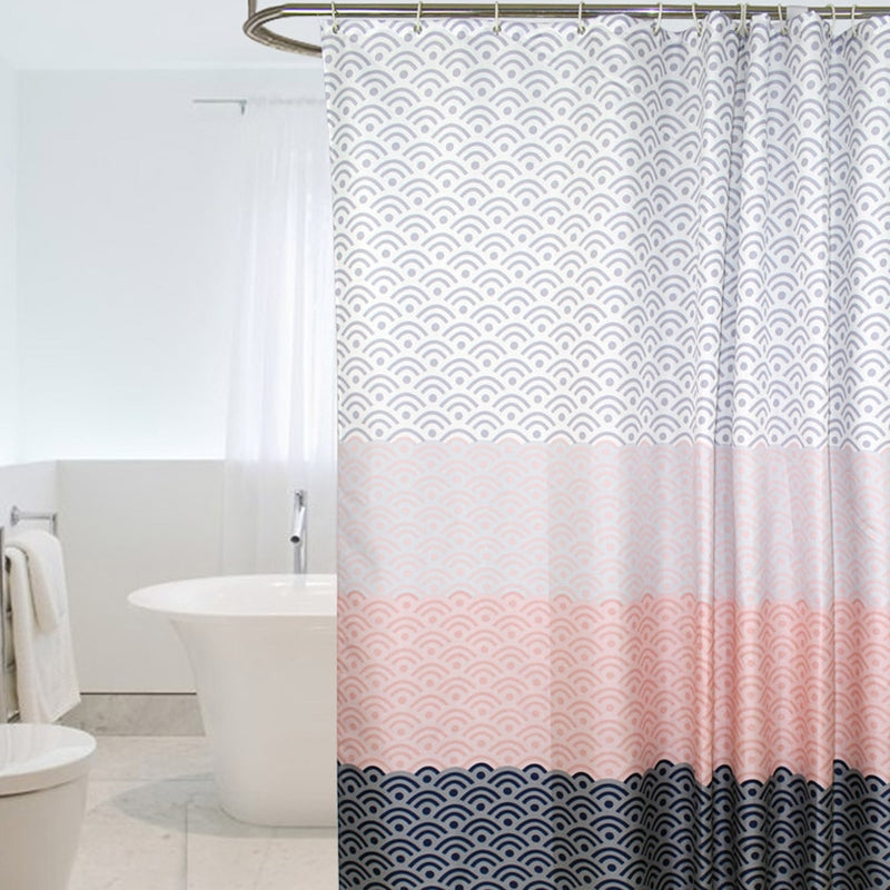Nordic Shower Curtain Geometric Color Block Bath Curtains Bathroom For Bathtub Bathing Cover Extra Large Wide 12pcs Hooks