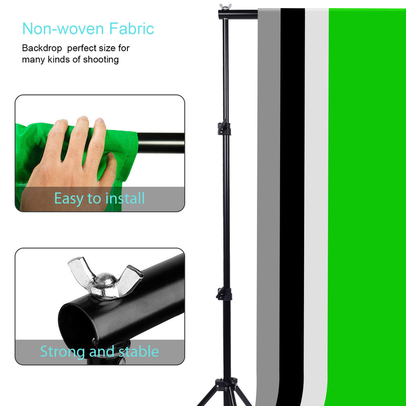ZUOCHEN Photo Studio LED Light Softbox Lighting Kit 4 Backdrops For Photography Shooting Facebook Live