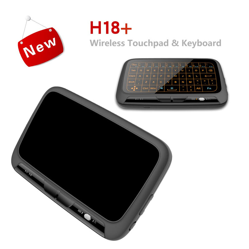H18+ Wireless Air Mouse Mini Keyboard Full screen touch 2.4GHz QWERTY Keyboard Touchpad with Backlight Function For Smart TV PS3
