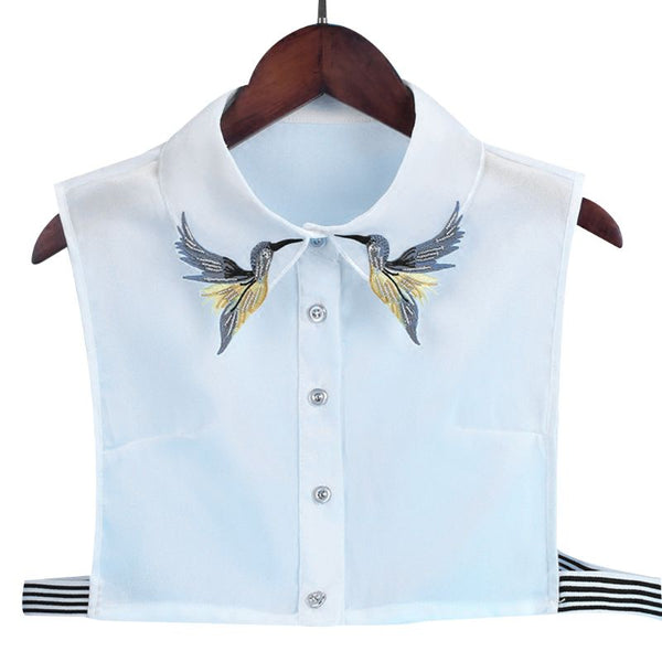 Women Shirt Fake Collar Tie Fashion Heavy Bird Embroidery Crystal Sewing Detachable Collar False Collar Lapel Blouse Top