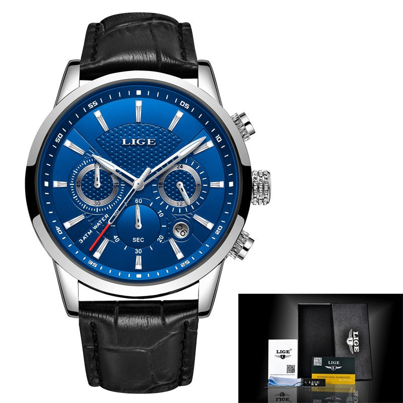 Relogio Masculino Men Watches LIGE Fashion Waterproof Chronograph Top Brand Luxury Quartz Watch Men Casual Leather Sport Watch