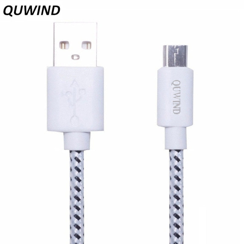 QUWIND Nylon braided Cable 1 M 2 M Micro USB Charging Data Cable for HuaWei Android Samsung HTC Cell Phones