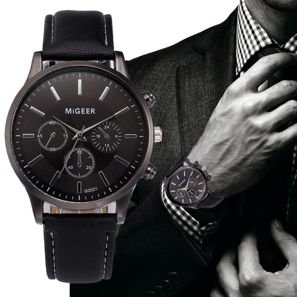 Men's Watch Retro Design Leather Band Analog Alloy Quartz Wrist Watch MiGEER Men's watches male clock hot relogio masculino 30X