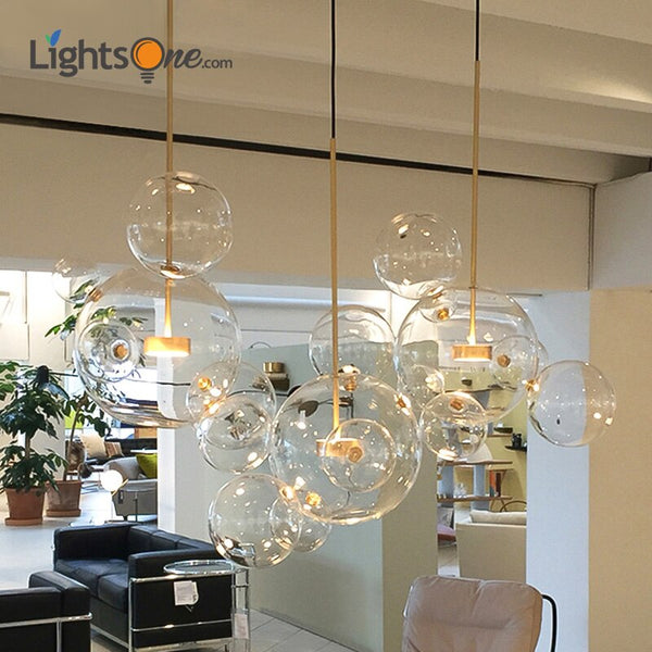 Creative personality postmodern simplicity pendant light Nordic living room restaurant glass bubble ball led pendant lamp