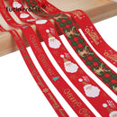 5yards/lot 10mm/15mm/25mm Polyester Printing Christmas Grosgrain Ribbons DIY Xmas Party Wrapping Decor Supplies Material X0203