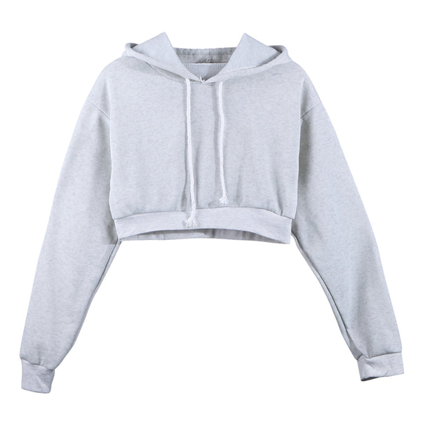 Fashion Women Sweatshirt 2019 Hot Sale Hoodies Solid Crop Hoodie Long Sleeve Jumper Hooded Pullover Coat Casual Sweatshirt Top