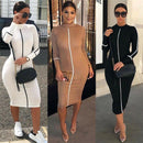 Sexy Hihg neck long bodycon dress Women cotton fitness sundress elegant Sexy summer female christmas party dress