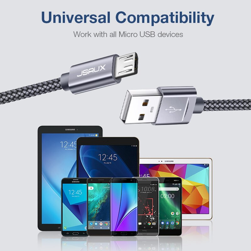JSAUX 2m Micro USB Cable for Xiaomi Redmi Note 5 Pro 4 Reversible Micro USB Charger Data Cable for Samsung S7 Mobile Phone