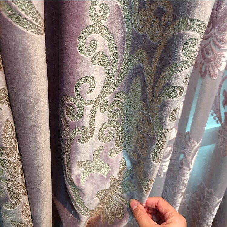 High-end Velvet Gilded Curtains for Living Dining Room Bedroom Blackout Curtains Jacquard  Embroidered Luxury Window Valance