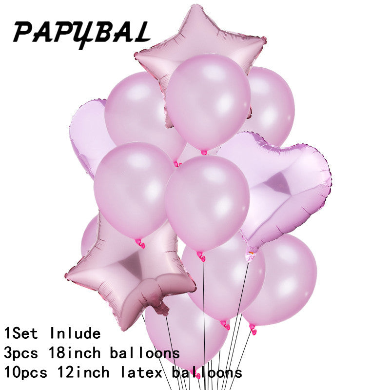 12PCS Baby Shower 18 inch Pink White Star Helium Foil Balloons Girls Happy Birthday Party Supplies 1st Party Decoration Air Ball