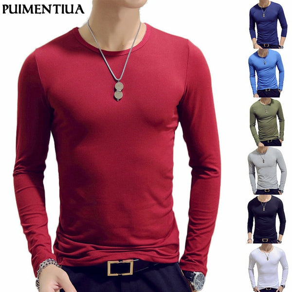 2019 Autumn Men T-Shirts Long Sleeve O-Neck Casual Fitness Jogging Solid Fashion Tee Basic Running Homme Top Clothing