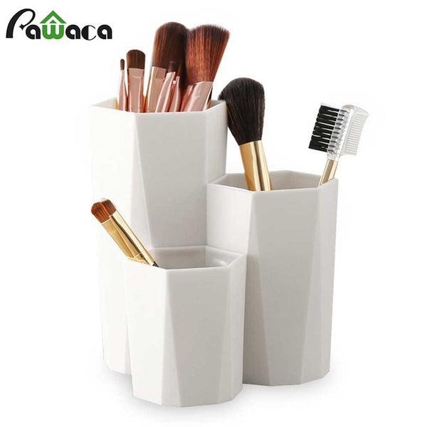 3 Lattices Cosmetic Make-up Brush Storage Box Table Organizer Makeup Nail Polish Cosmetic Holder Make Up Tools Pen Holder Rack