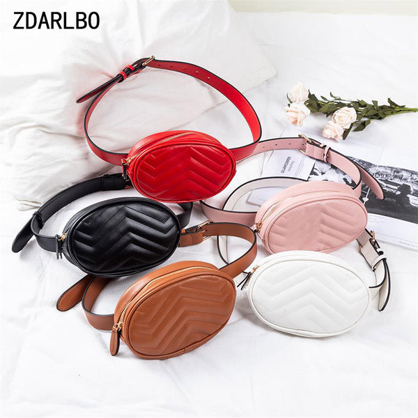Fashion Women's Waist Bag PU Fanny Pack Female Waterproof Belt Bags Solid Color Waist Pack Chest Hip Bag Mobile Phone Pocket