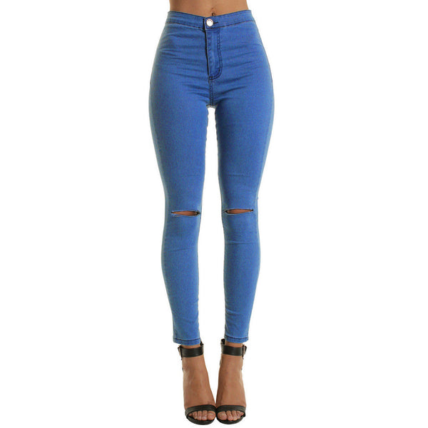 Women Casual Slim Solid Hole Long Jeans 2019 New Sexy Skinny Trousers Stretchy Pencil Jeans Fashion Denim Pants Plus Size