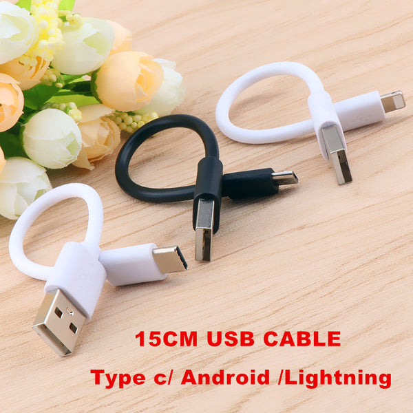 15cm Short Micro USB Cable Type c 8Pin Cable Fast Charging Sync Data Cord USB Adapter Cable for iPhone Samsung Xiaomi Huawei