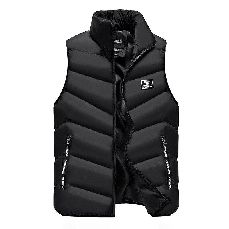 2019 Vest Men Thick Waistcoat Windbreak Casual Style Quality Solid Slim Fit Atumn Winter Sleeveless Jacket Brand Clothing M-4XL