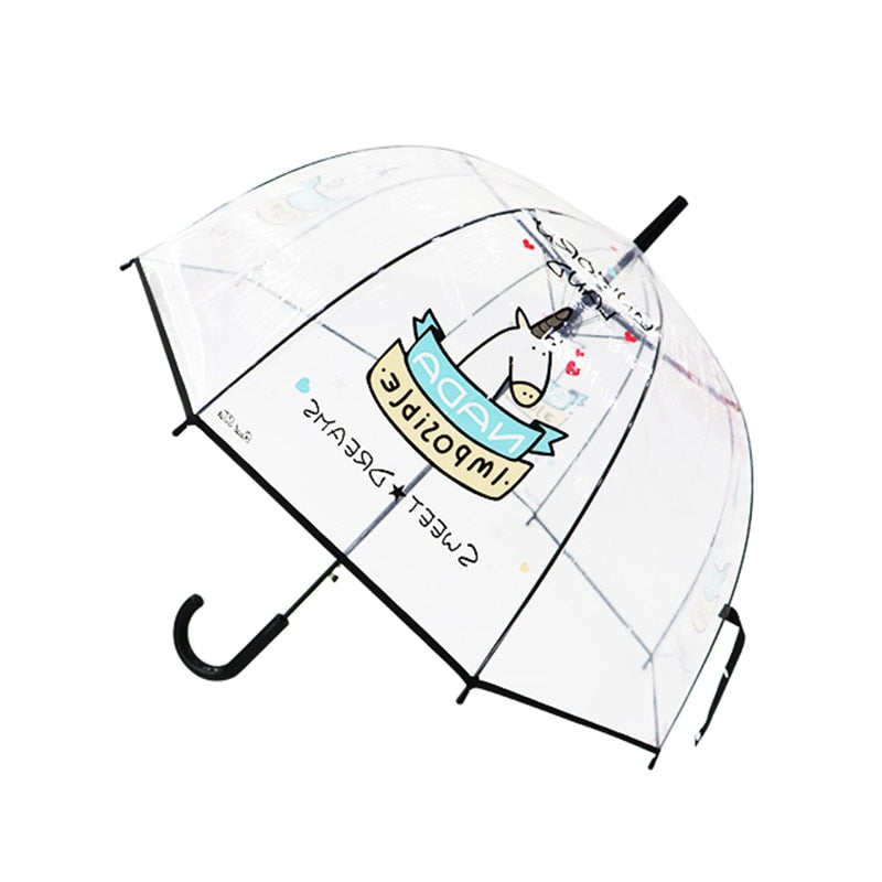 Kids Umbrella Unicorn Transparent Umbrellas Children Laser Umbrella Cute Cartoon Alpaca Girl Umbrellas Sakura Dropshipping