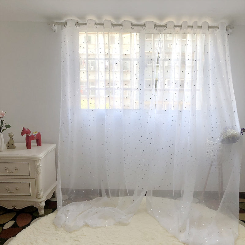 White Shiny Sliver Star Tulle Curtains For Living Room Modren All-match Yarn with Window Drapes Sheer for the Bedroom 234&30