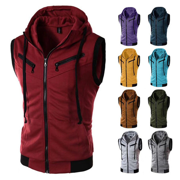 New Arrival Vests For Men Slim Fit Fashion Men's Summer Casual Hooded Pure Color  Short Sleeve Top Blouse